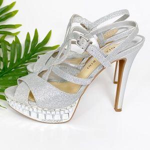 Gianni Bini Myra Silver Stone & Sparkle Heels 6